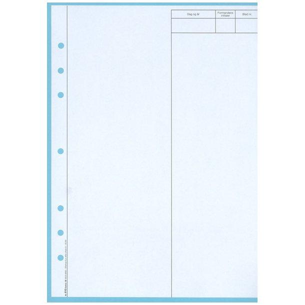 Blade til protokol u. linier, A4, 6 hul, (nr. 610)